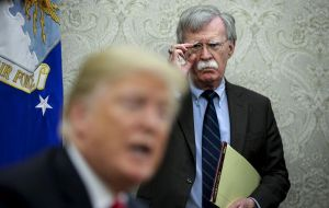 """We were set back very badly when John Bolton talked about the Libyan model ... what a disaster,"" Trump told reporters at the White House."
