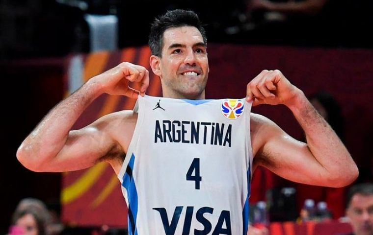 In front of a capacity crowd Argentina's 39-year-old talisman Luis Scola could not escape the attentions of Pierre Oriola