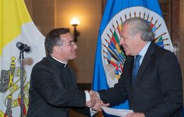 Monsignor Miles and Secretary General Luis Almagro during the ceremony