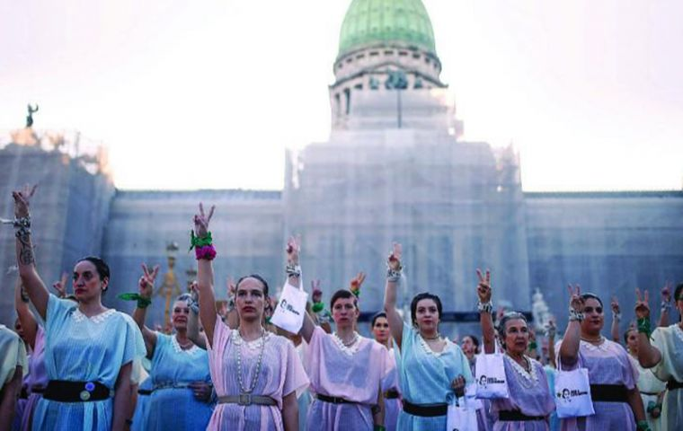 "Hundreds of ""Evitas"" have featured in recent protests, complete with 1930s-era pastel dresses and hair buns that were the hallmark of the actress-turned-first lady"