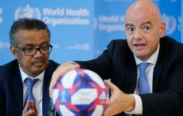 WHO Director-General Dr Tedros Adhanom Ghebreyesus and FIFA President Gianni Infantino signed the memorandum of understanding in Geneva
