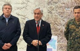 "Piñera was conciliatory in a national address from the presidential palace after declaring on Sunday from military barracks that the country was ""at war"""