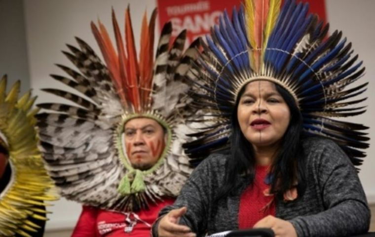 Sonia Guajajara, the head of APIB, which represents many of Brazil's 900,000 native people, called for EU lawmakers to exert pressure on Brazil's government