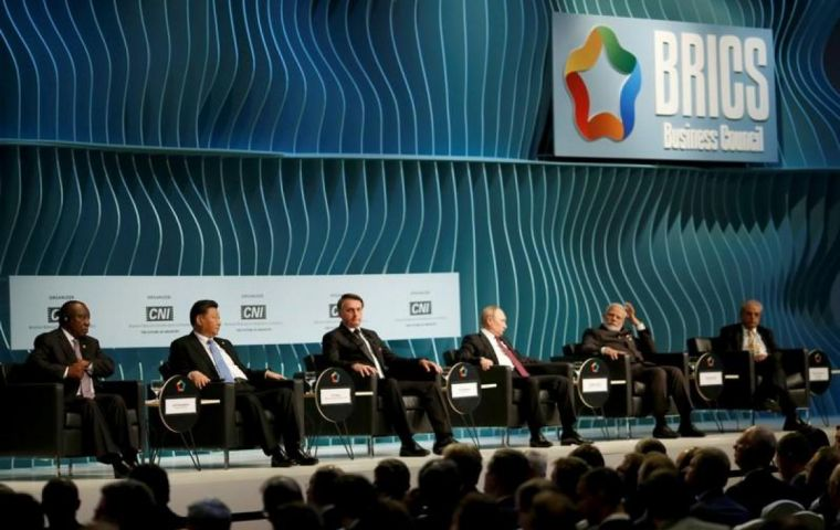 The joint declaration by BRICS countries - Brazil, Russia, India, China and South Africa - came on the second day of the annual gathering.