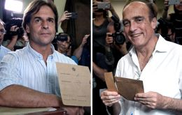 Luis Lacalle Pou (left), who opinion polls anticipates up to 8% advantage over his rival for Sunday's runoff: Daniel Martinez (right), the incumbent and dullest candidate of  leftist Broad Front