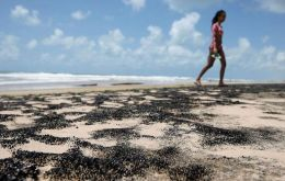 A small quantity of oil was found far from the region's most famous beaches, in the sand in the town of Sao Joao da Barra, as the spill moves southward.