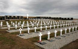 The Argentine military cemetery close Darwin holds 230 graves