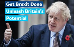"Conservative party manifesto ""Get Brexit Done, Unleash Britain's Potential"", with a picture of PM Boris Johnson"
