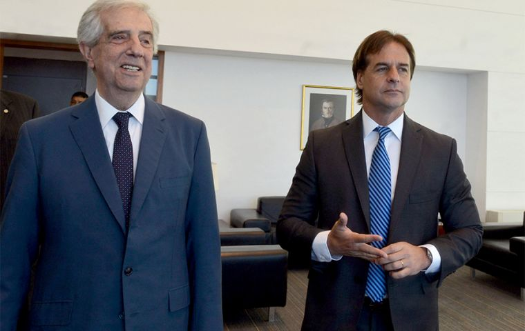 """The tensions are clear,"" Luis Lacalle Pou said after meeting with outgoing Uruguayan leader Tabare Vazquez. Image: Presidency"