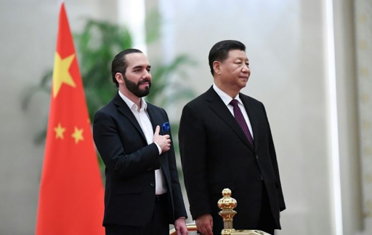 President Xi Jinping met with Salvadoran President Nayib Bukele during the Central American leader's first visit to Beijing since being sworn into office