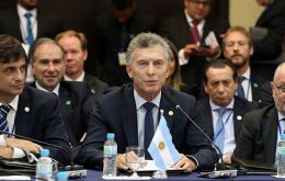 """It has been one of the great efforts of my government to integrate Argentina to the world, and 70% of us Argentines believe in an intelligent insertion"" Macri said"