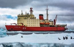 The Argentine icebreaker ARA Almirante Irizar which was almost a decade undergoing repairs and refurbishment