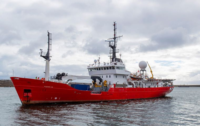 PHAROS SG, on regular deployment as a South Georgia and South Sandwich Islands fishery patrol vessel,  returned on Tuesday morning to Stanley Harbour (Pic BFSAI)