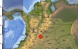 The quakes were very close to each other and only minutes apart. Epicenters were located about 150 kilometers south of the capital Bogota in the province of Meta