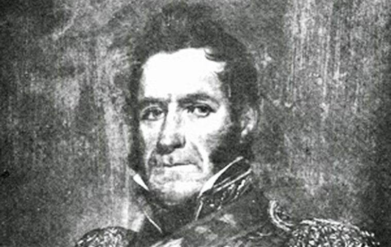 US naval officer and privateer David Jewett flew the United Provinces flag in 1820, following specific instructions from then Buenos Aires governor Martín Rodríguez
