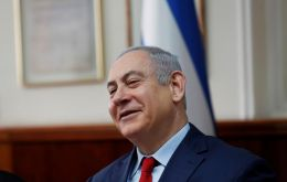 Netanyahu stumbled at the weekly cabinet meeting while reading in Hebrew prepared remarks on a deal with Greece and Cyprus on a subsea gas pipeline.