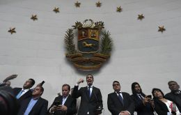 Guaido then raised his right hand and took the oath of office for another term as leader of the assembly.