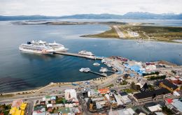 The port of Ushuaia on a busy day with several cruise vessels