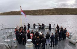 Nearly 40 years later, the survey vessel sailed into the now-silent waters of San Carlos to pay her respects as she conducted a two-week patrol of the Falklands (Pic RN)