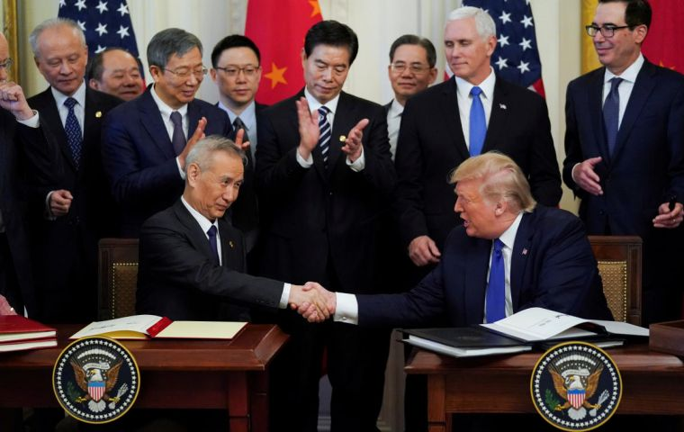 Trump signed a deal with China this week that ends the escalation but leaves in place tariffs on two thirds of the goods imported from the Asian economic power.