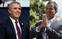 "Colombian President Iván Duque welcomed Guaidó in a tweet on Sunday and said he would hold a ""working meeting"" with him later."