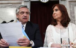 President Alberto Fernandez next to her vice president Cristina Kirchner in Congress on inauguration day, last 10 December