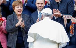 Francis attended a Vatican conference on the global economy whose participants included IMF chief Kristalina Georgieva and Finance Minister Martin Guzman