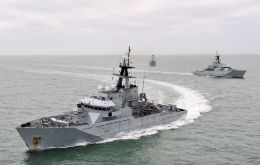 The Royal Navy's current UK Fishery Protection Squadron (FPS) fleet is currently made up of just three River-class offshore patrol vessels and a helicopter (Pic RN)
