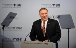 """I'm happy to report that the death of the transatlantic alliance is grossly exaggerated. The West is winning, and we're winning together,"" Pompeo said"