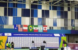 The Falklands flag hangs next to those of the other Badminton Pan Am Cup in Salvador, Brazil
