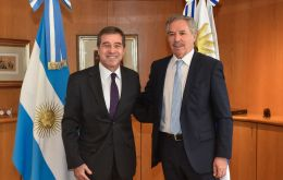 Uruguay's next foreign minister Ernesto Talvi and Felipe Sola  at the San Martin Palace