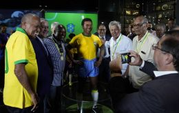 "Pele, who will be 80 in October and finds it difficult to walk, was not present at the ceremony in the CBF's museum but had declared the statue was ""perfect"""