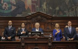 Lacalle Pou taking the oath of office in the Parliament along with most voted senator, José Mujica