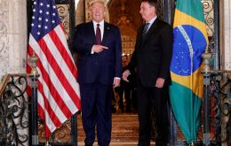 """Brazil loves him and the U.S.A loves him,"" Trump said in brief remarks to reporters before their dinner"