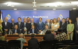 President Lacalle Pou and his cabinet informing of the coronavirus situation and measures to contain its spread