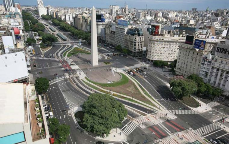 Empty streets in Buenos Aires and Montevideo