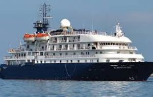 A passenger ship moored off the Falkland Islands and operated by Noble Caledonia, will provide temporary, quarantined accommodation for scientists and support staff while they wait to return home