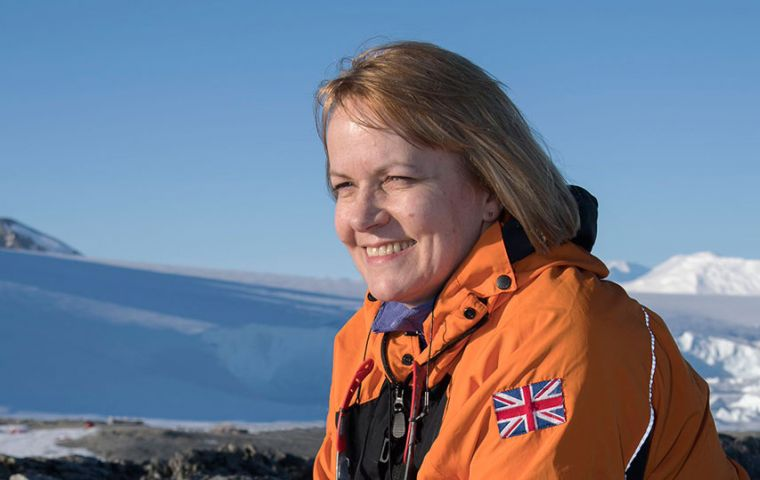 "BAS Director Prof Dame Jane Francis said, ""I am very pleased that we can get our people home during the next few weeks and I am grateful to Noble Caledonia for making their ship available to us"" (Pic"