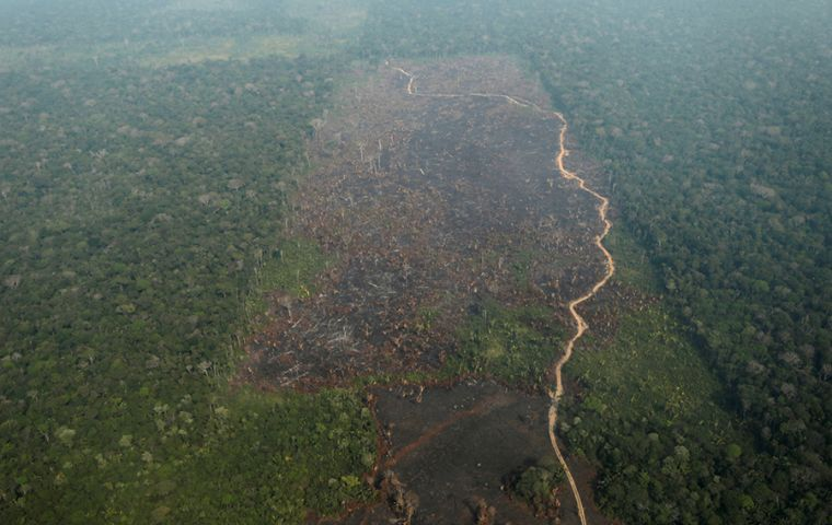 Destruction in Brazil's portion of the Amazon rose 30% in March, compared to the same month a year ago, according to the country's space research agency, INPE.