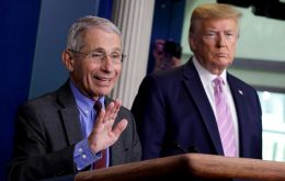 "At a briefing Trump said he and Fauci had been on the same page ""from the beginning"" about the virus"