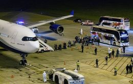 The first evacuation was between April 10 and 11 to transport 115 Australian and New Zealand passengers in four buses to Carrasco International Airport.