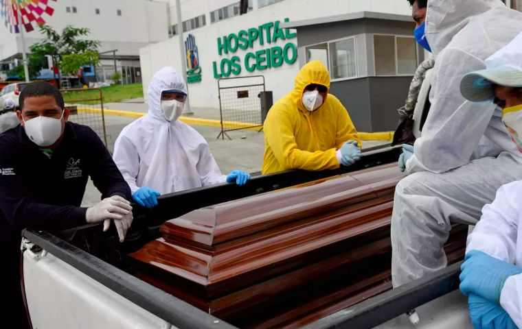 The coronavirus outbreak has overwhelmed health and funeral services in Guayaquil, where authorities have built emergency cemeteries and families had to store relatives' bodies at home. REUTERS