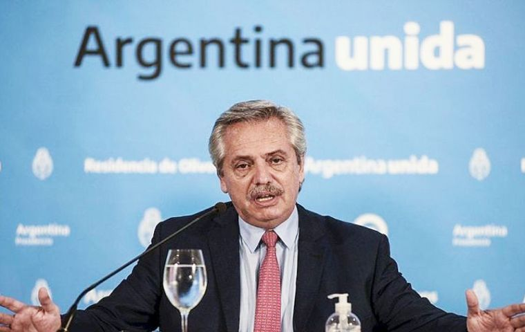 President Alberto Fernández loosened some restrictions, saying Argentines would be allowed to take short walks outside their homes during the day.