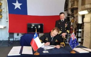 Australia's Chief of Navy, Vice Admiral Mick Noonan, during the signing ceremony