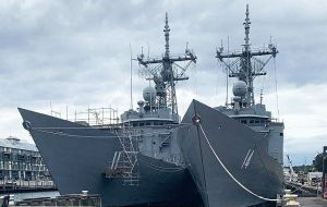 Almirante Latorre and Capitan Prat are undergoing a basic refit at Sydney's Garden Island and the Chilean crew are completing training at HMAS Kuttabul.