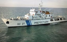 "The Argentine Coast Guard vessel involved in the incident was GC-27 ""Prefecto Fique"""