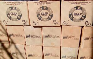 Food boxes provided by CLAP, Venezuelan government food distribution program.
