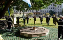 One of the ceremonies took place at naval HQ next to the cenotaph to the memory of Belgrano and its crew