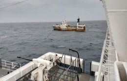 The Portuguese flagged trawler Calvao, arrested in the high seas after a four hour chase by the Argentine Coast Guard