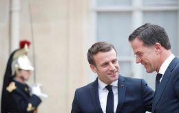 Emmanuel Macron welcomes Dutch Prime Minister Mark Rutte for a working lunch at the Elysee Palace in Paris in February. REUTERS